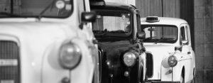 Les taxis anglais de TaxiFun photo Noir et Blanc