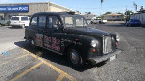 pub anglais, taxi anglais, las vegas, le strip, so british, london cab, cab anglais
