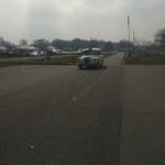 Le Taxi Blanc de TaxiFun part sur la piste pour la parade