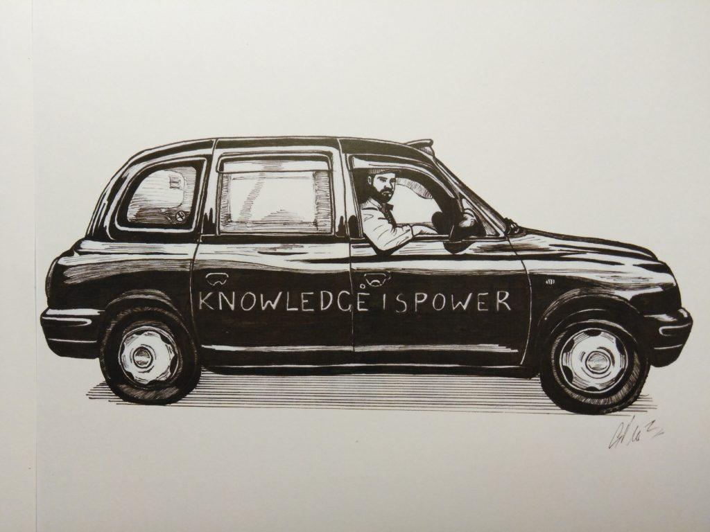 taxi anglais Black Cab Glen Marquis dessin chauffeur de taxi anglais Cabbie of London