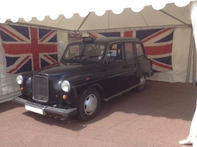 black cab with union jack