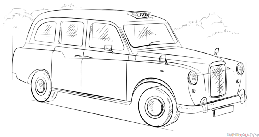 comment dessiner un taxi anglais etape par etape