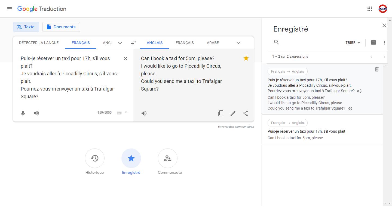 page google traduction appeler un taxi a londres traduction en anglais et prononciation