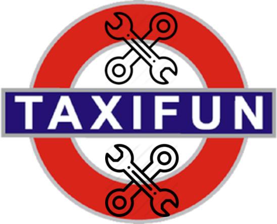 Logo rond rouge Underground Londres Inscription TAXIFUN blanc sur fond bleu, par dessus et par dessous symboles de deux outils de réparation automobile en X