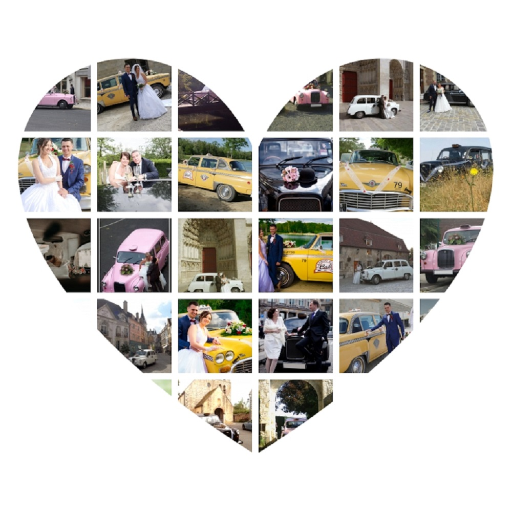 voiture de mariage originale taxis anglais taxis new-yorkais mosaîque de photos